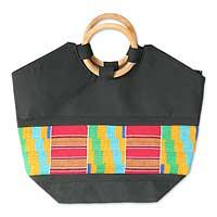 Cotton kente tote bag, 'Neighborly Love'