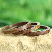 Wood bangle bracelets, 'Forest Dancer' (set of 3)