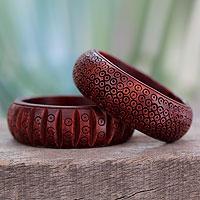 Wood bangle bracelets, 'Ethnic India' (pair)