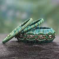 Handcrafted bangle bracelets, 'Dreams in Aqua' (set of 3)