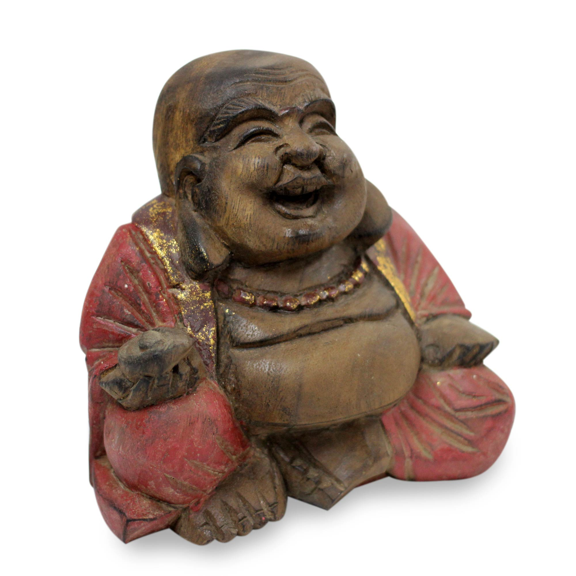 Laughing Buddha Sculpture, 'Laughing Buddha in Red'