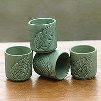 Ceramic cups, 'Bay Leaf' (set of 4)