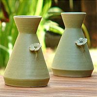 Ceramic vases, 'Beautiful Frangipani' (pair)