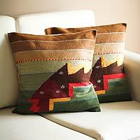 Wool cushion covers, 'Angelfish' (pair)