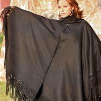 Alpaca blend poncho, 'Black Floral Elegance'