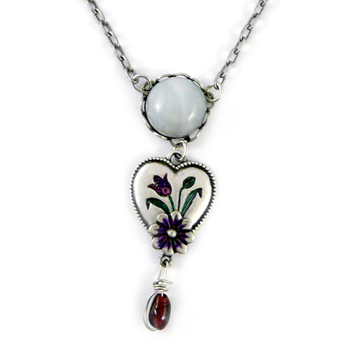 Vintage Inspired Iris Heart Necklace