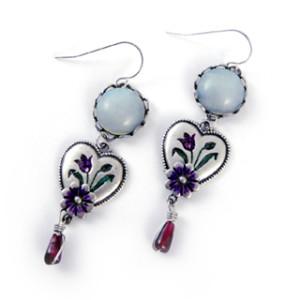 Vintage Inspired Iris Heart Earrings