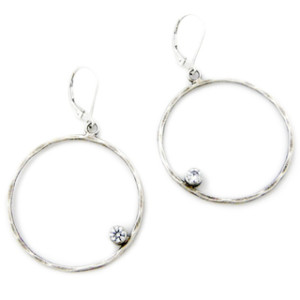 Hammered Silver Hoop Earrings with Cubic Zirconia