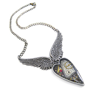 Steampunk Watchworks Heart with Wings Necklace