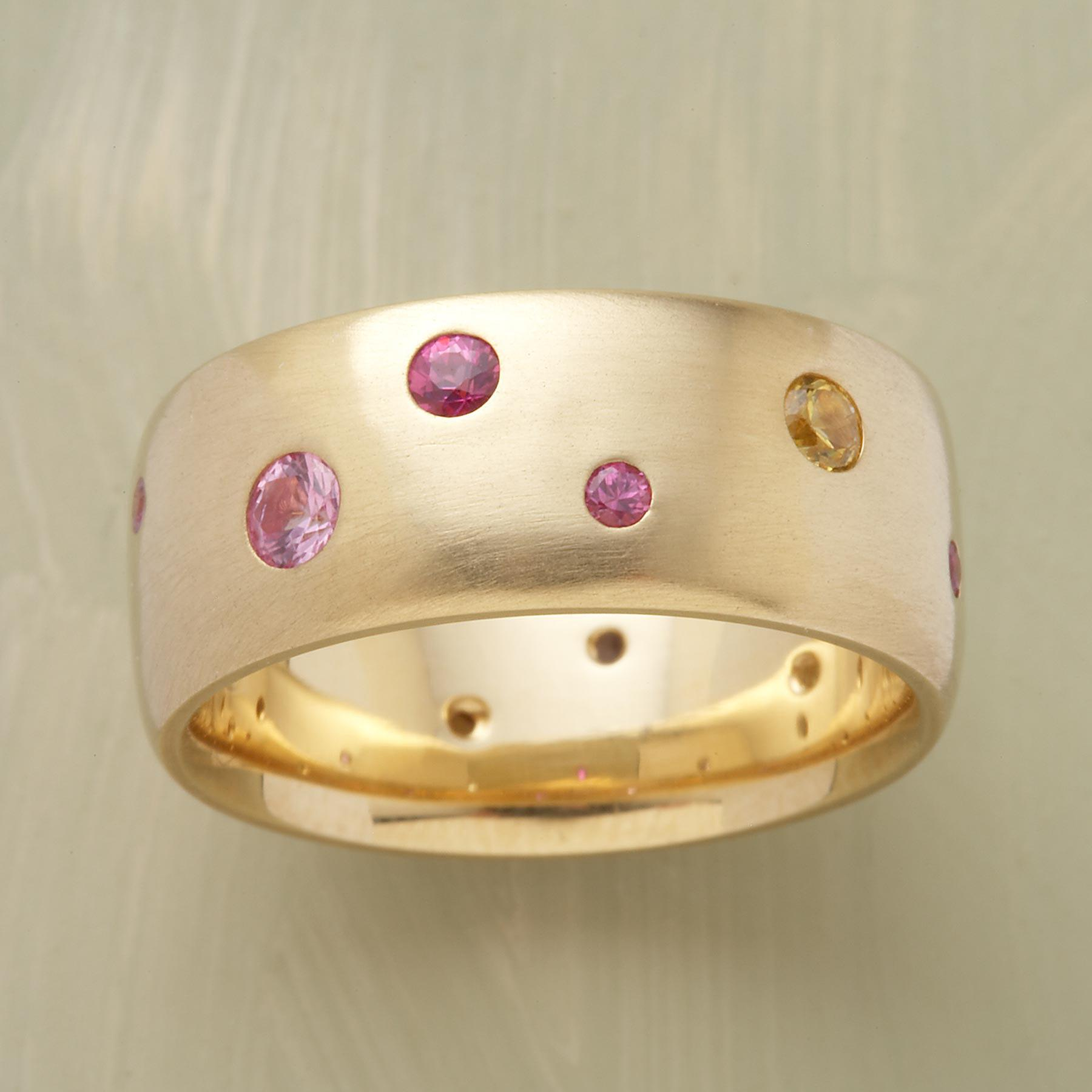 Yellow Gold Sapphire Spectrum Ring