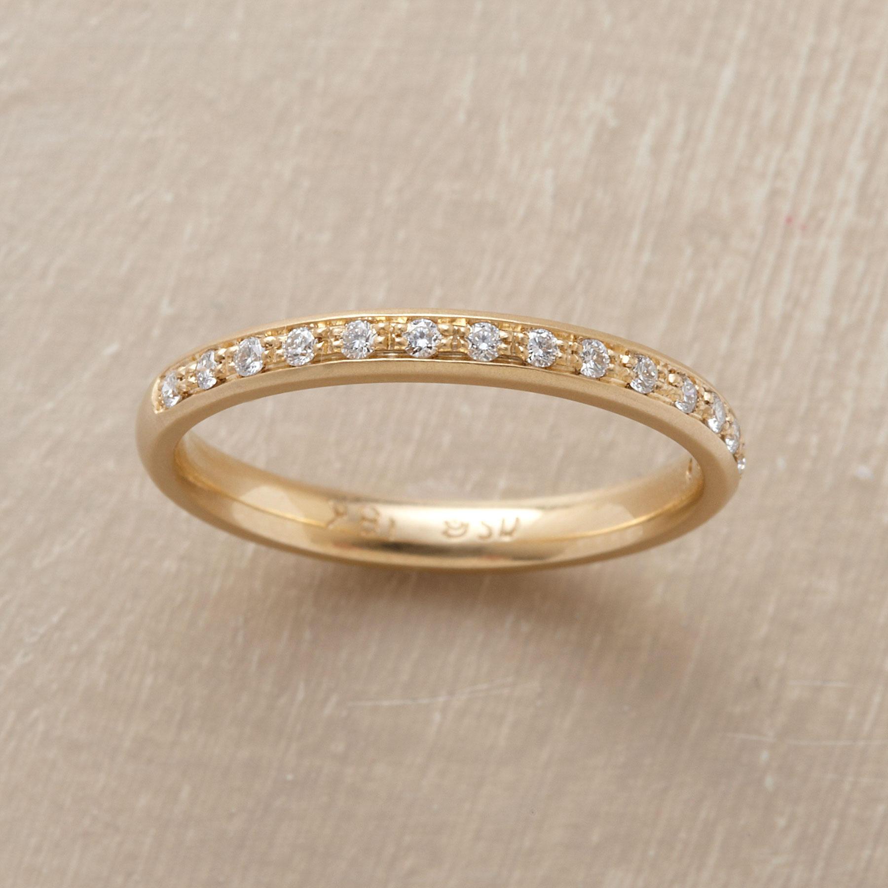 Single Row Yellow Gold Pave Diamond Ring