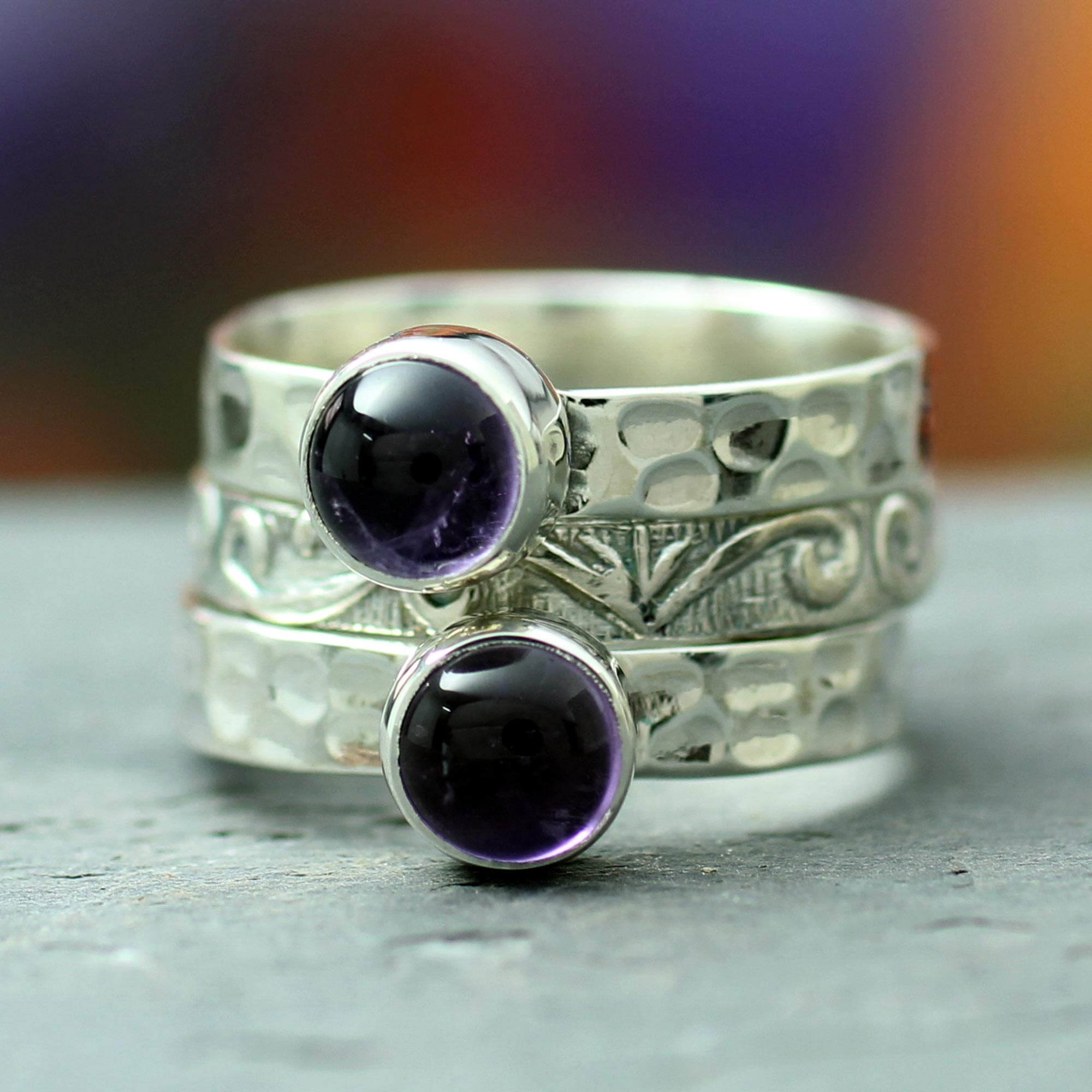 Silver Amethyst Ring, Mystical Muse
