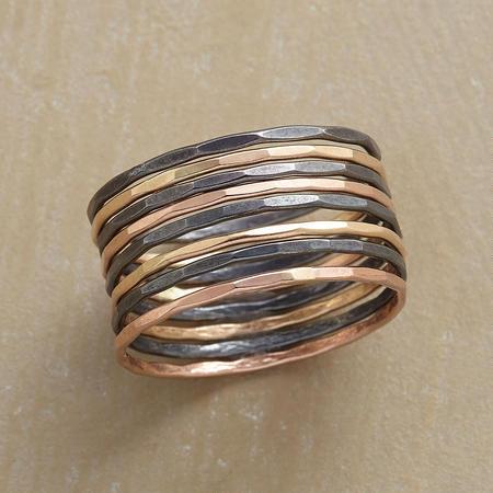 Mixed Metals Rings, Super Slender Stacking Rings
