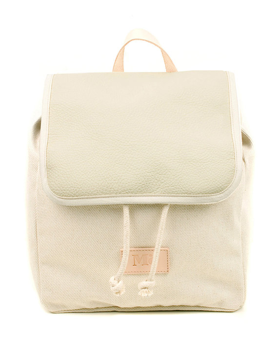 Women's Leather Backpack, Light Gray