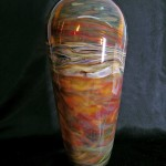 Amber Colored Glass Vase by C&H Glassworks