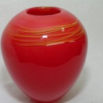 Hand Blown Red Glass Vase by C&H Glassworks