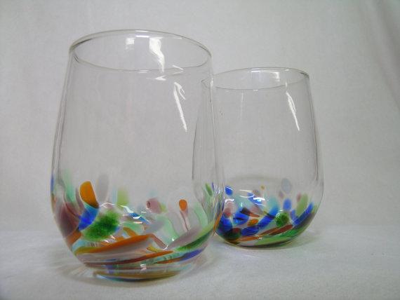 Hand blown wine glasses stemless wine glass pair - Hand blown stemless wine glasses ...