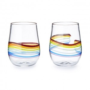Rainbow Stemless Wine Glass by Frost Glass