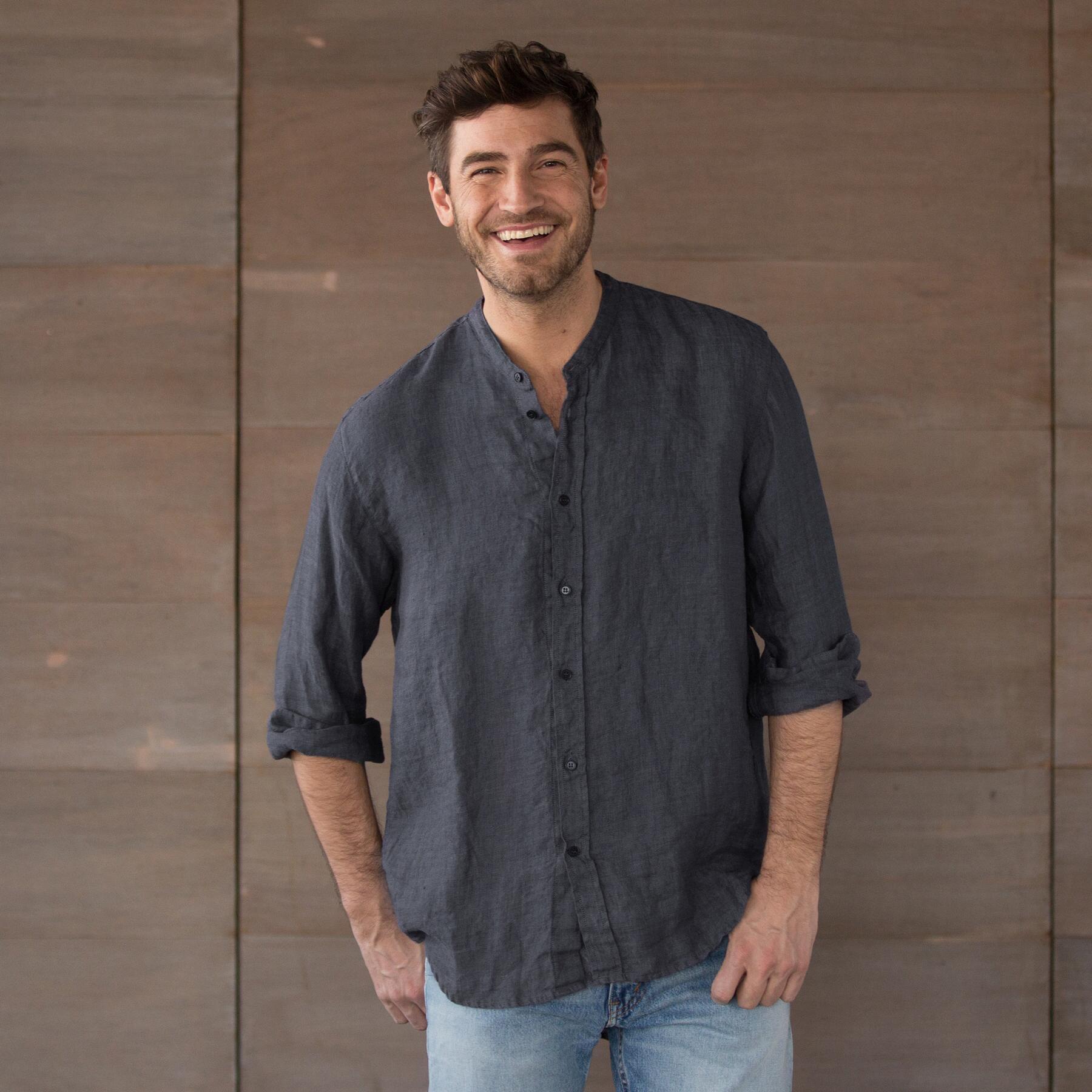Cp shades tony yarn dyed indigo shirt for Tony collar dress shirt
