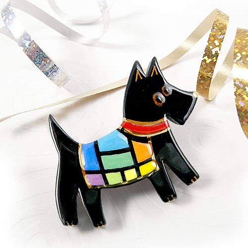 Rainbow Dog Pin in Black
