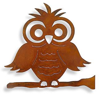Rust Owl Garden Wall Hanging
