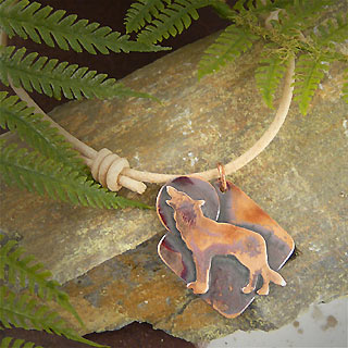 Unisex Leather and Copper Wolf Necklace