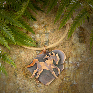 Unisex Leather and Copper Horse Necklace