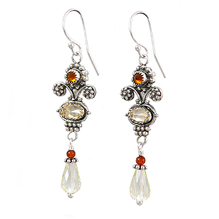 Upscale Bohemian Drop Earrings in Citrine and Amber