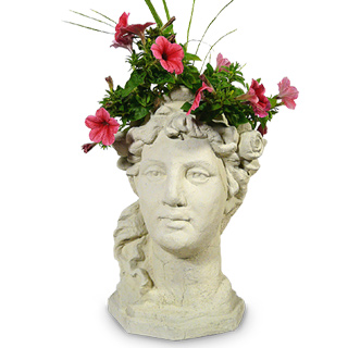 Garden Goddess Concrete Head Planter