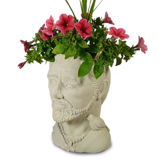 St Francis Concrete Head Planter