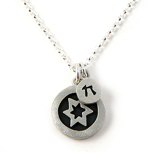 Contemporary Star of David + Chai Necklace