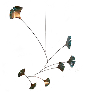 Copper Ginkgo Leaf Indoor/Outdoor Mobile, 7-Leaf Version