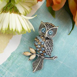Swarovski Crystal Owl Brooch