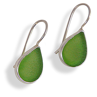 Sea Glass and Sterling Silver Drop Earrings in Green