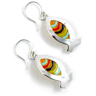 Sterling Silver & Fused Resin Fish Earrings