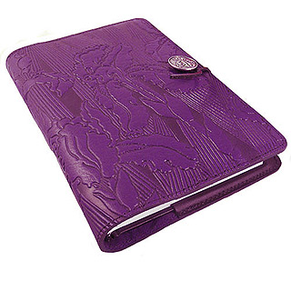 Purple Iris Refillable Embossed Leather Journal