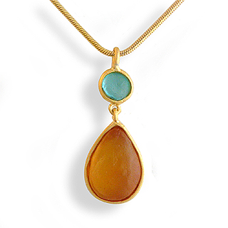 Orange Artisan Glass and Gold Plated Tear Drop Pendant