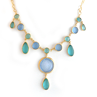 Teal and Blue Artisan Glass and Gold Plated Chandelier Necklace