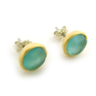 Teal Artisan Glass and Gold Plated Stud Earrings