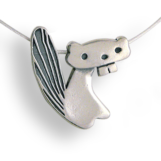 Sterling Silver Beaver Necklace