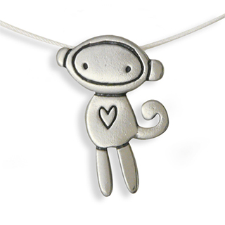 Sterling Silver Love Monkey Necklace