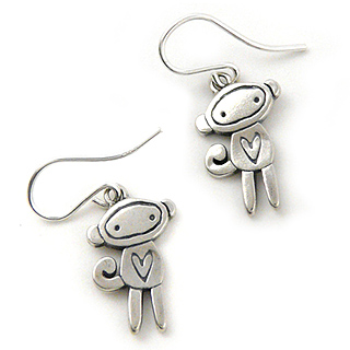 Sterling Silver Love Monkey Earrings