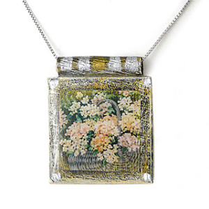 "Art Print Necklace: ""Hydrangea Basket"""