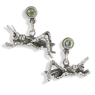 Grasshopper Pewter Earrings