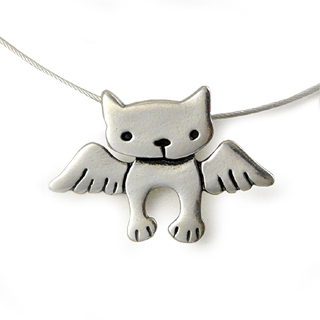 Angel Kitty Sterling Silver Charm Necklace