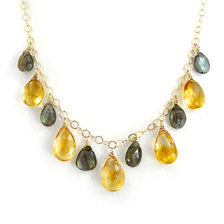 Handmade Citrine and Labradorite Teardrop Necklace on 14k Gold Fill