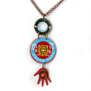 Red Hand Recycled Bottle Cap Art Necklace