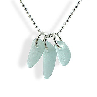 Simple Sea Glass Trio Necklace in Seafoam