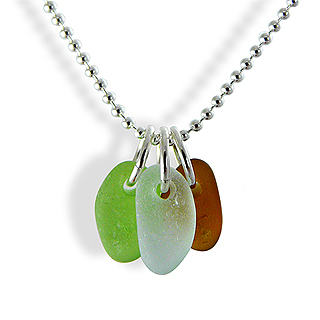 Simple Sea Glass Trio Necklace in Earth Colors