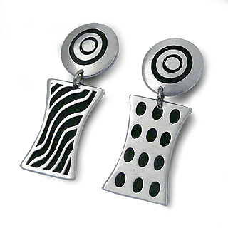 Modern Deco Bold Pewter Earrings
